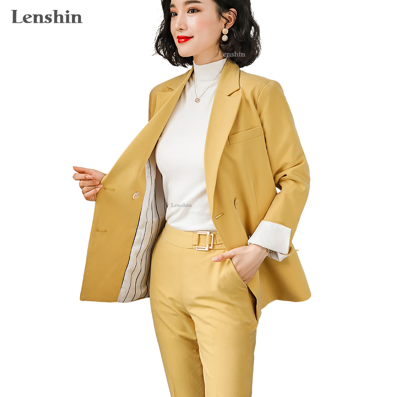 Lenshin Two Pieces Set Soft Mid-length Pant Suit Candy Color Style Double Breasted Blazer With Ankle-Length Trouser