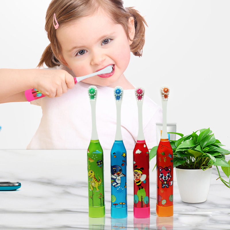 Image 4 - 4 pieces / pack children's electric toothbrush cute fun sonic electric brushing cartoon pattern kids toothbrush  Soft Bristle-in Electric Toothbrushes from Home Appliances