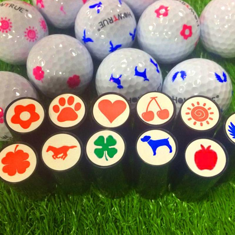 Plastic + Silicone Golf Ball Stamp Seal Impression Marker Print Gift Prize For Golfer Random Color