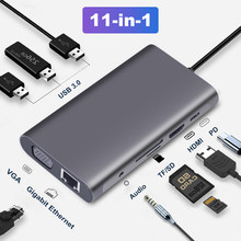 USB-концентратор OFCCOM с Type C на Multi USB 3,0, HDMI 4k VGA RJ45 Lan адаптер, док-станция для MacBook Pro Type C, док-станция