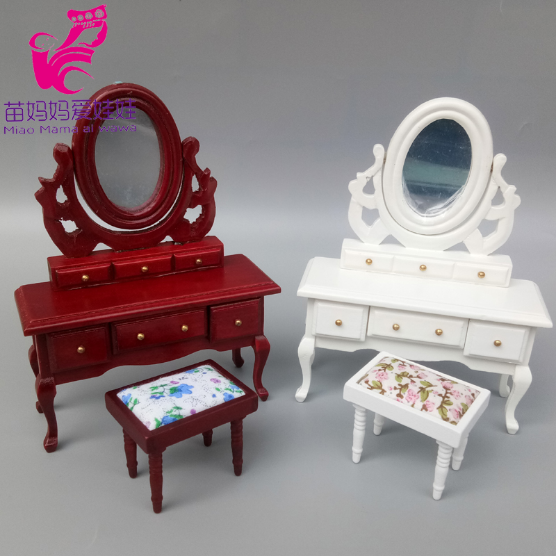 Mini Wood Dressing Table Model For Doll House Diy Decoration For Barbie Blythe Doll Furniture BJD Ob 11 Doll Accessories
