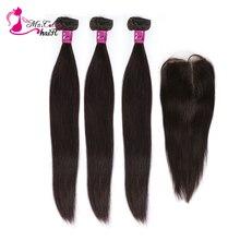 Mèches de cheveux lisses brésiliennes Remy avec Closure et Baby Hair, Ms Cat Hair, 3 lots, offre de 4 pièces/lot