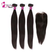 MS 고양이 머리 3 묶음 4 개/몫 브라질 스트레이트 헤어 레미 인간의 머리카락 묶음 & 아기 머리카락과 함께 거래