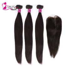 Ms Cat Hair 3 Bundles Deal with Closure 4 Pcs/Lot Brazilian Straight Hair Remy Human Hair Bundles With Closure & Baby Hair