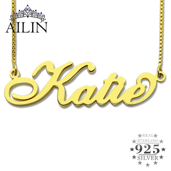 AILIN Personalized Carrie Style Name Necklace Women 925 Sterling Silver Custom Made with Any Fashion Christmas Jewelry Gift