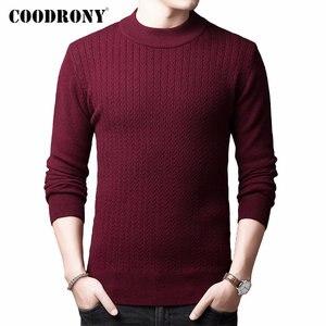 Image 1 - COODRONY marka sweter mężczyźni jesień zima gruby ciepły kaszmirowy wełniany sweter mężczyźni Pure Color dzianina golf Pull Homme 91114