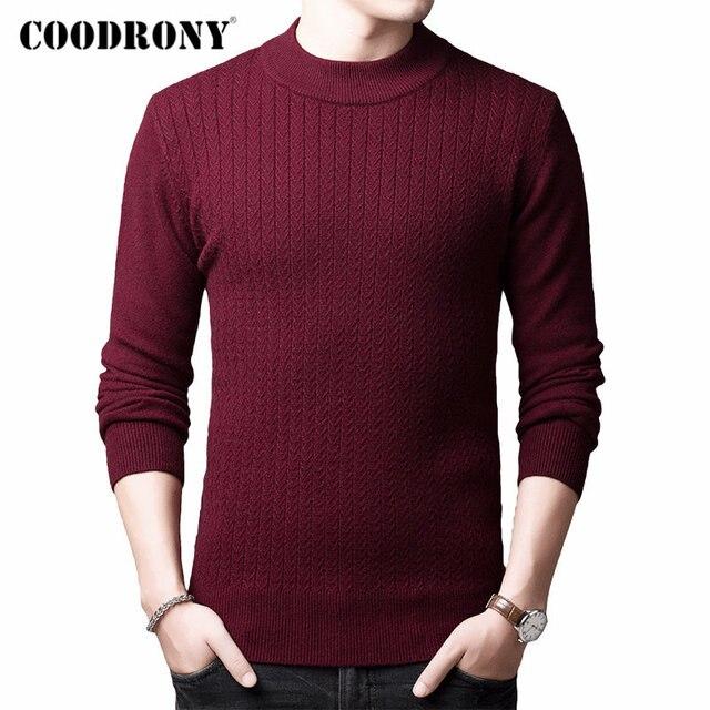 COODRONY marka sweter mężczyźni jesień zima gruby ciepły kaszmirowy wełniany sweter mężczyźni Pure Color dzianina golf Pull Homme 91114