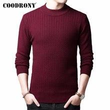 Suéter marca COODRONY para hombre Otoño Invierno grueso jersey de lana para hombre cachemir Color puro cuello alto de punto Pull Homme 91114