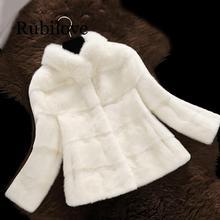 Rubilove 2019 New Arrival Women Winter Short Hair Faux Fur Coat Long Sleeve Solid Color Blue White Plus 2XL Ladies Outerwea