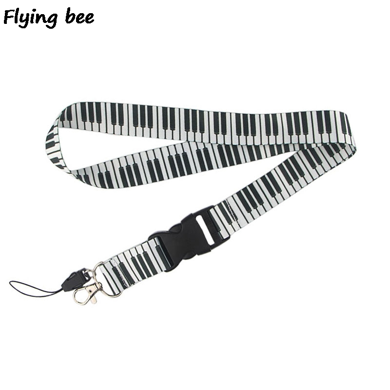 Flyingbee Piano Music Keychain Cartoon Cute Phone Lanyard Women Fashion Strap Neck Lanyards For ID Card Phone KeysX0470
