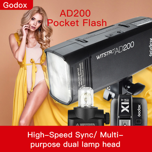 Godox ad200 ttl 2.4g hss 1/8000s bolso flash luz dupla cabeça 200ws com 2900 mah bateria de lítio lanterna flash