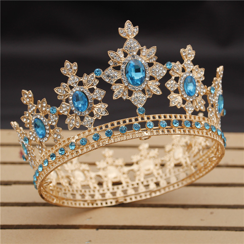 Luxo Real Rei Rainha Casamento Coroa de Noiva tiaras e Coroas Pageant Diadema Prom Mantilha Cabeça de acessórios de Cabelo Jóia De Cristal