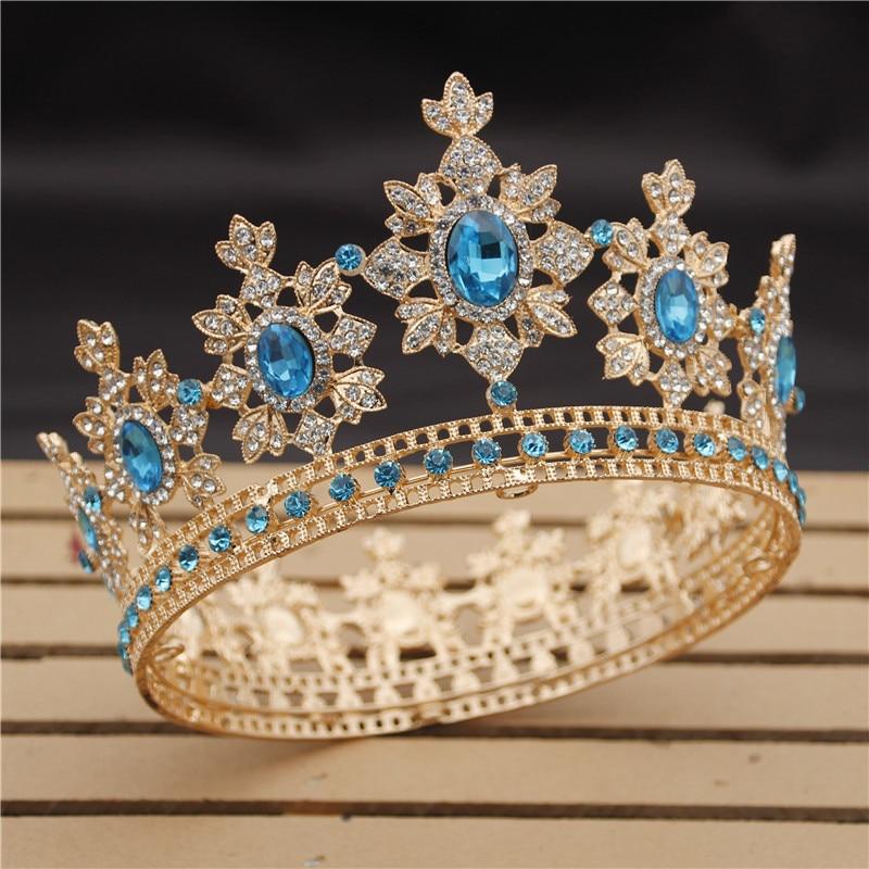 Royal king tiaras de noiva e coroa de casamento, joias com diadema de cristal, acessórios de cabeça para baile