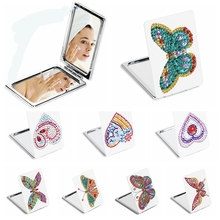 5D DIY Diamond Painting Mirror Mini Pocket Women Girl Makeup Mirror Butterfly Rhinestone Diamond Embroidery Mirrors momoart diamond painting animal cock diamond mosaic full drill square rhinestone diamond embroidery stickers home decor
