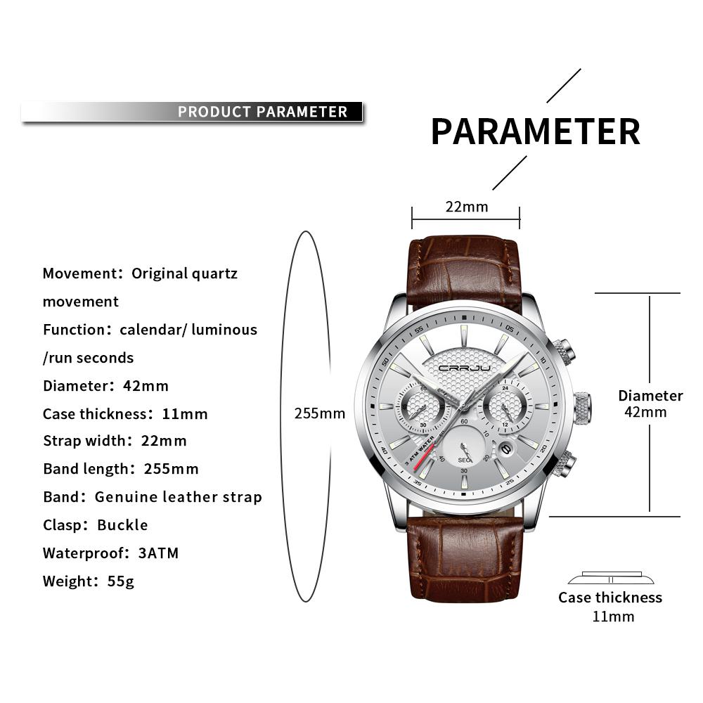 CRRJU, nuevos relojes de moda para hombre, relojes de pulsera analógicos de cuarzo, cronógrafo resistente al agua de 30M, reloj deportivo con fecha Relojes De Correa De Cuero para hombre 3