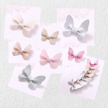 7pcs/lot Korean Cute Leather Butterfly Hairpins Solid Kawaii PU Hair Bow Clips Princess Hairgrip Accessories For Girls