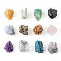 12PCS Natural Quartz Crystal Rough Gemstones and Minerals Healing Raw Stones Collection Decorative Irregular Stones Home Decor