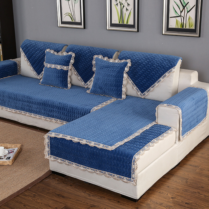 Thick Slip Resistant Couch Cover for Corner Sofa Made with Plush Fabric Including Lace for Living Room Decor 5