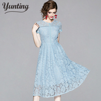 Vintage Summer Holiday Dress Sexy Women Pink Blue Lace Party Dress Slim Crochet Sundress