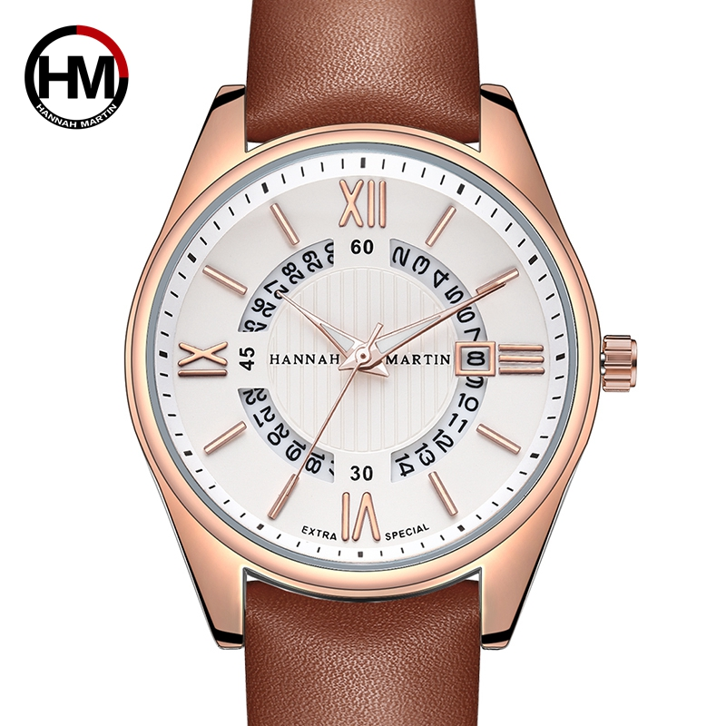 Genuine Leather Design Creative Real Calendar Quartz Watch Men Business Fashion Students Top Brand Luxury Waterproof Wrist Watch