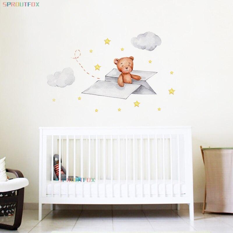 Милые животные бумажного самолетика для медведь наклейки на стену для маленьких мальчиков комната Детская комната Nursury вечерние украшения ...