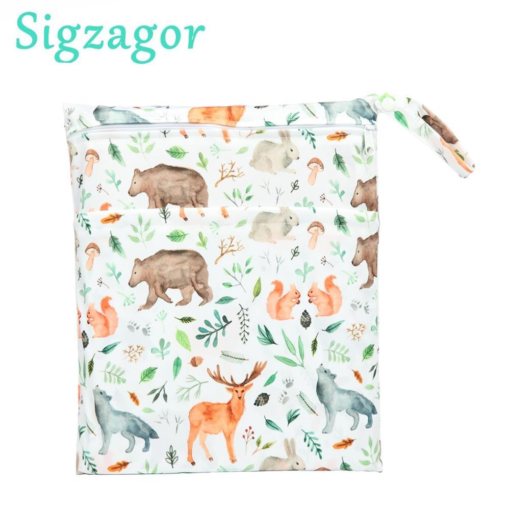 [Sigzagor] saco seco molhado com dois com zíper para fraldas de bebê fraldas impermeável reutilizável 36cm x 29cm