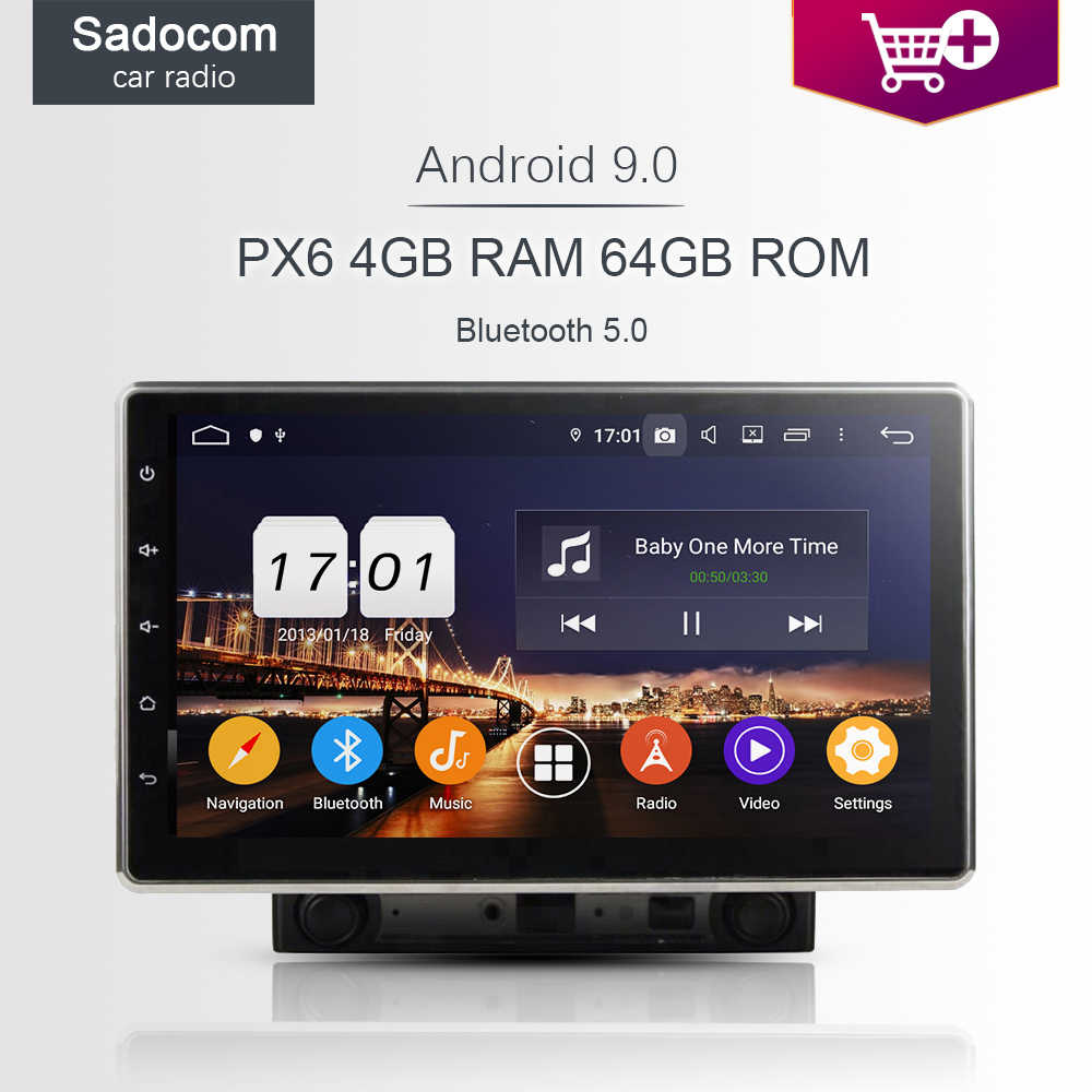 "10.1 ""2 DIN IPS Android 9.0 4GB + 64GB + 8 Core PX6 Mobil Dvd Player GPS multimedia RDS Auto Radio Wifi Bluetooth 5.0 4G untuk Universal"