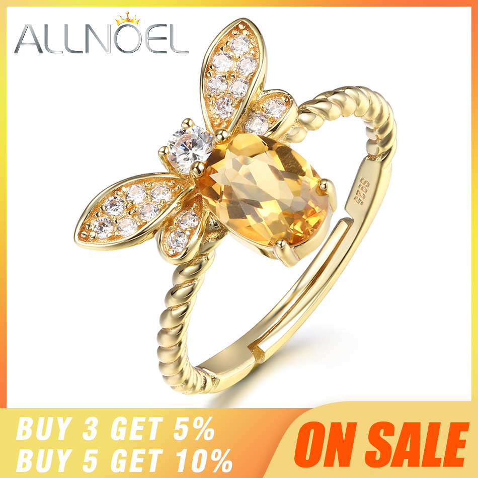ALLNOEL Fine Jewelry Rings 925 Sterling Silver Natural Gemstone Citrine Bee Engagement Ring Set Wedding Silver ALLNOEL Fine Jewelry Rings 925 Sterling Silver Natural Gemstone  Citrine Bee Engagement  Ring Set Wedding Silver Custom Jewellry