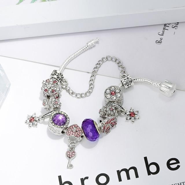 Seialoy púrpura de corazón de cristal de llave de bloqueo pulseras del encanto para las mujeres Original brillante colgante de flor con cuentas brazalete fiesta regalo de la joyería