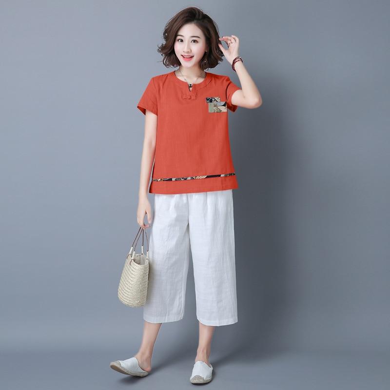 2019 Summer New Style Retro Artistic Applique Cotton Linen Short Sleeve T-shirt Tops Elastic Waist Capri Pants WOMEN'S Suit