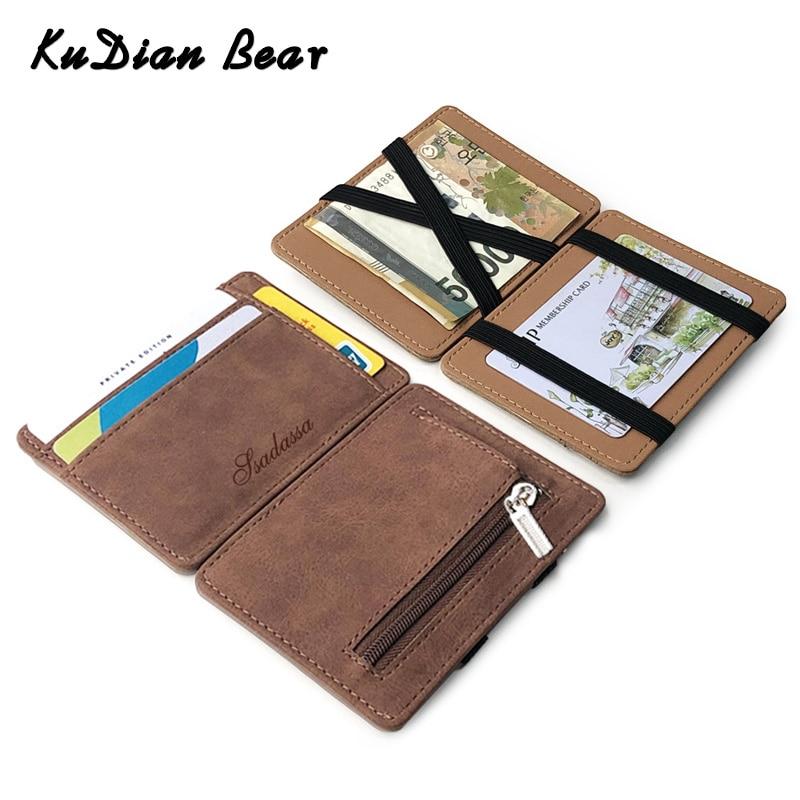 KUDIAN BEAR Slim Men Wallet Coin Pocket PU Leather Credit Card Holder Women Purse Small Magic Wallets Carteira BID267 PM49