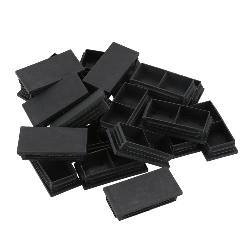 Plastic Rectangle Blanking End Caps Bung 40mm X 80mm 20Pcs Black