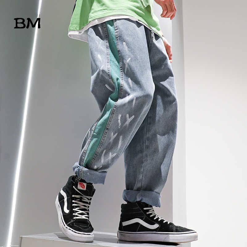 2020 Hip Hop grafiti yırtık kot çizgili düz pantolon Uomo japon Streetwear moda Kpop kore Denim kargo pantolon erkekler