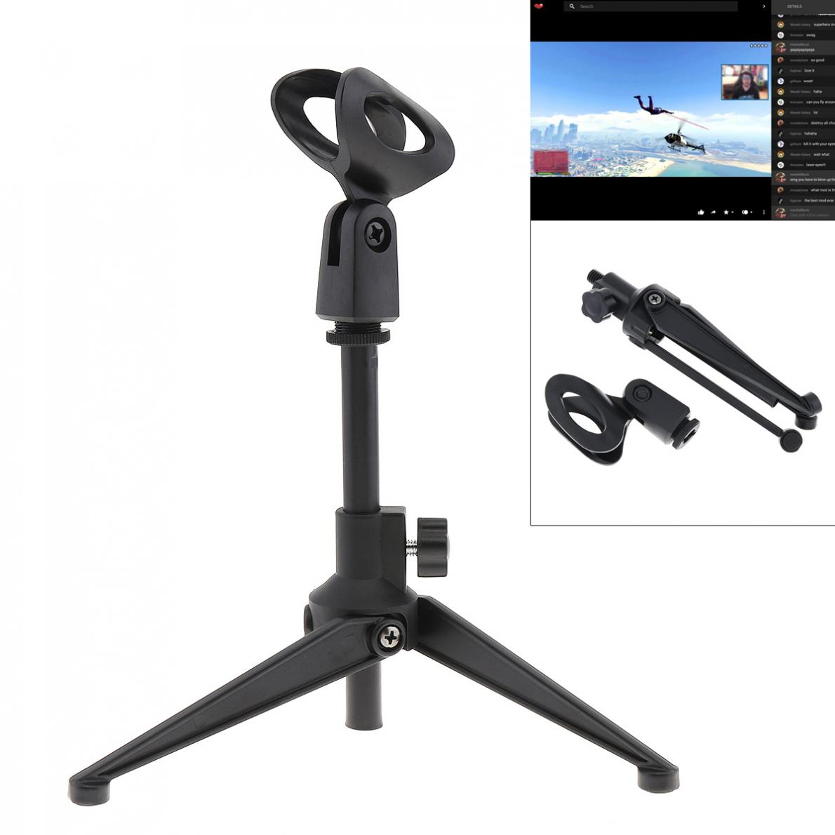 Mini Portable Black Table Tops Microphone Stand With Zinc Alloy Metal Tripod Mic Stand Bracket Support Desktop Adjustable