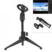 Mini portátil preto mesa topos microfone suporte com liga de zinco metal tripé mic suporte desktop ajustável