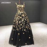 J66979 jancember formale abendkleid mit sleeveless platz kragen appliques mit schwarz frauen abendkleid vestido de noche