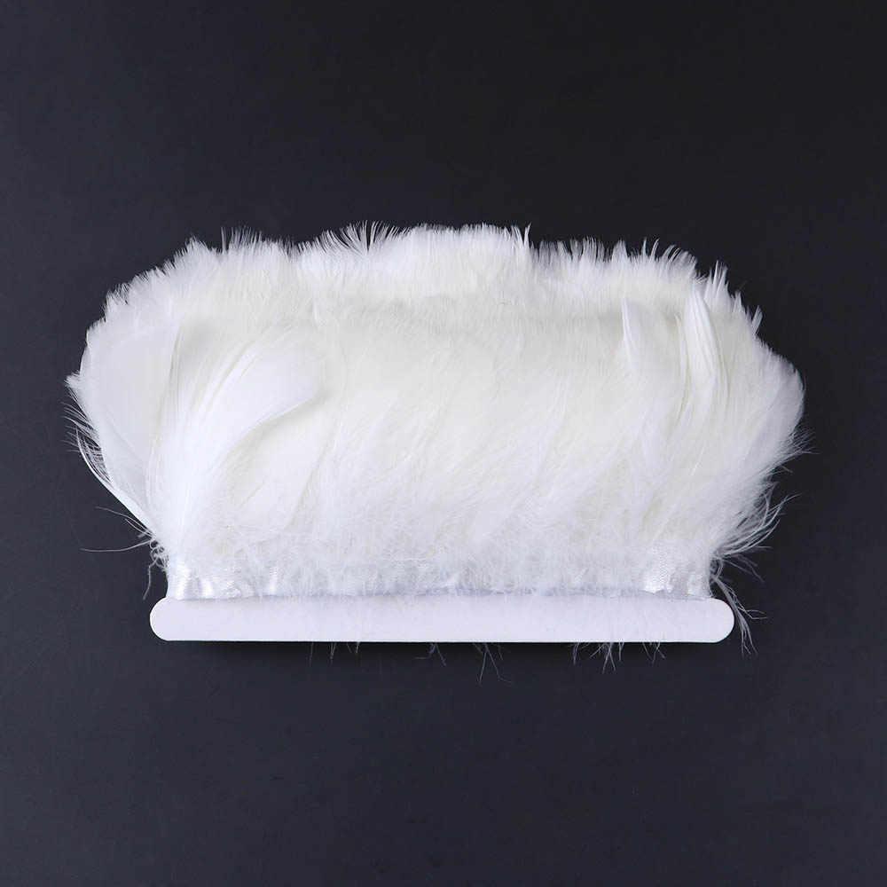1 メートル白ガチョウの羽トリム染めガチョウの羽 5-9 センチメートルプルーム diy 服の装飾のためのプルームオーストリッチフリンジアクセサリー 10 色