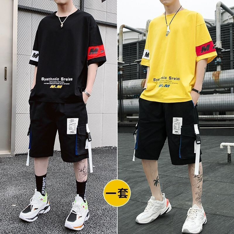 Mens Clothing Sets Tracksuit Men Ropa Hombre Two Pieces Tops Tees & Middle Length Pants Hip Hop Sports Male Suits Summer Thin
