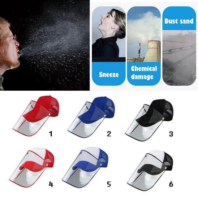 Detachable Anti-Saliva Protective Hat Cover Outdoor Baseball Hat Adjustable Unisex Peaked Cap Protective Face Shield Cover 3
