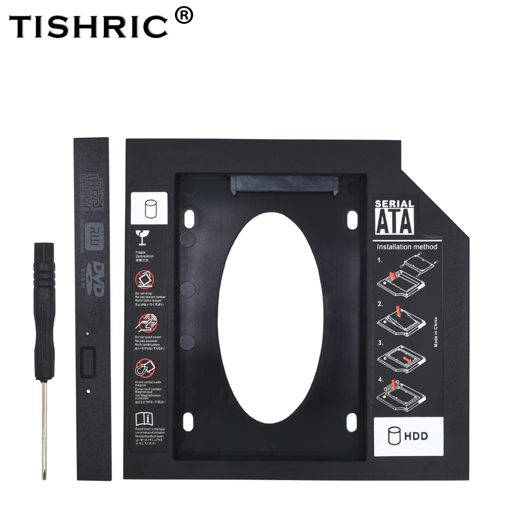 TISHRIC Universal Plastic HDD Caddy 9.5 12.7mm SATA 3.0 Optibay For 2.5'' SSD Hard Drive Case Enclosure For Laptop DVD-ROM ODD