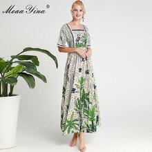 MoaaYina Fashion Designer Runway dress Spring Summer Women Dress Flare Sleeve Crystal Rainforest Print Long Dresses