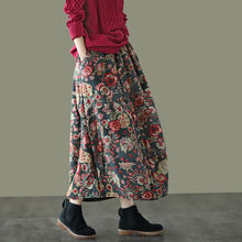 Женская Зимняя юбка из хлопка и льна с цветочным принтом