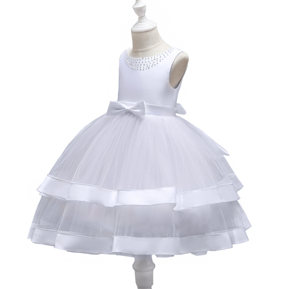 CHILDREN'S Dress 2019 New Style Europe And America Flower Boys/Flower Girls White Princess Skirt Red Puffy Mesh Dress