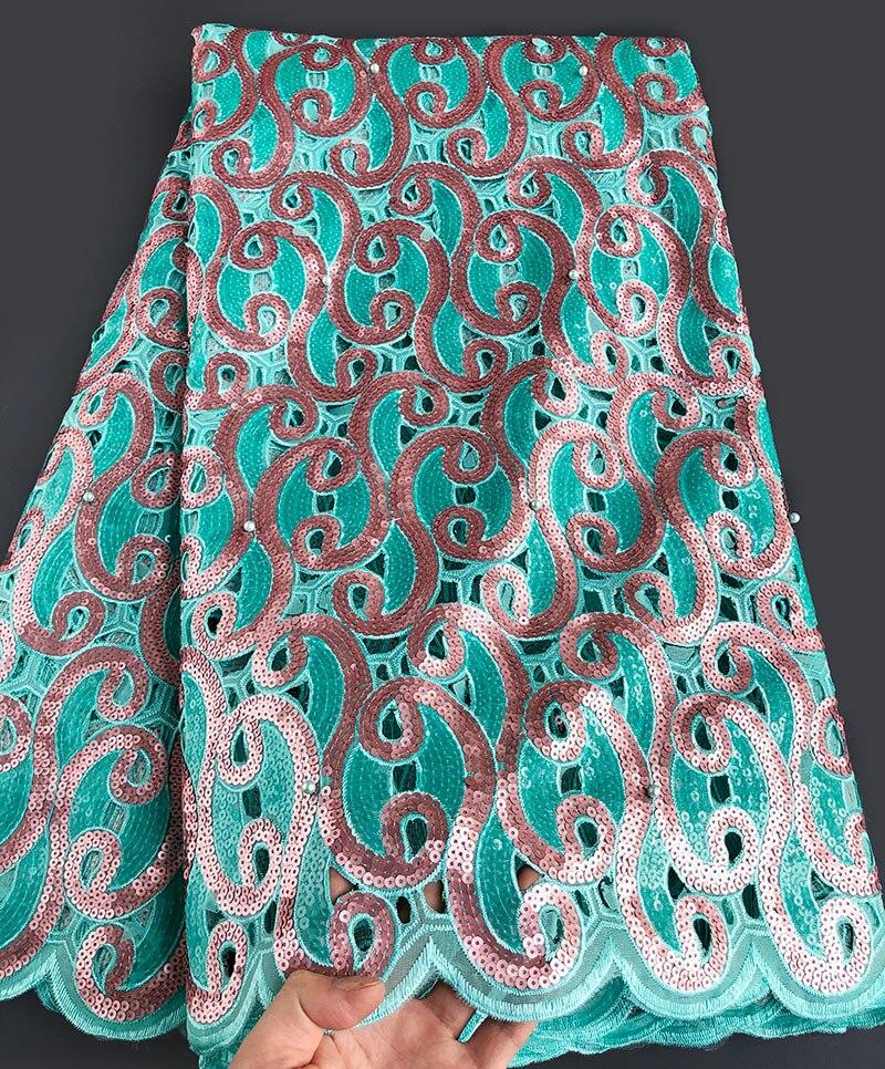 أكوا الخوخ الأورجانزا هاندكوت الأفريقي أقمشة الدانتيل مع الكثير من الترتر 5 ساحات كبيرة حزب النيجيري الملابس الخياطة الملابس-في دانتيل من المنزل والحديقة على  مجموعة 1