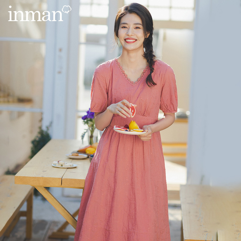 INMAN 2020 Summer New Arrival Literary Pure Cotton Lace V-nevk Jacquard Weave Nipped Waist Slimmed Dress
