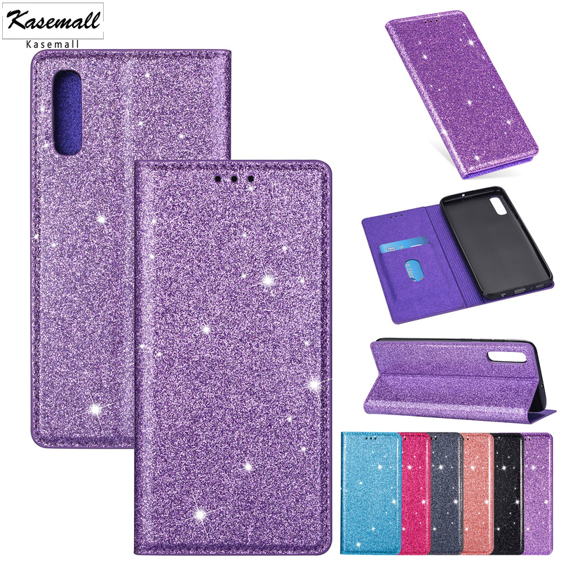 Wallet Case For Samsung A20 A10 A30 A50 A40 A70 A20E PU Leather Glitter Flip Card Stand Cover For Galaxy A6 Plus A7 A8 2018 Capa