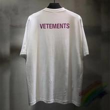 Vermelho Letra Logo Vetements T-shirt Das Mulheres Dos Homens 1:1 Alta Qualidade Vetements VTM Top Tee Camisetas Tag Etiqueta Pessoal