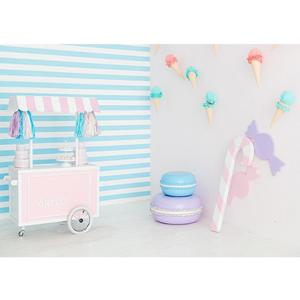 Image 1 - Sweet Table Ice Cream Cone Stripes Photo Backdrop Vinyl Cloth Background Photography Props for Children Baby Shower Photoshoot