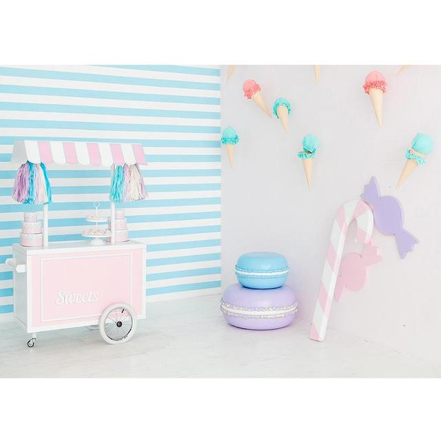 Sweet Table Ice Cream Cone Stripes Photo Backdrop Vinyl Cloth Background Photography Props for Children Baby Shower Photoshoot