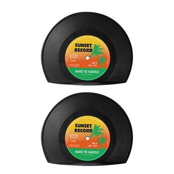 1 para Record Bookend plastikowa unikalna konstrukcja łatwa w użyciu i praktyczna Drop Shipping tanie i dobre opinie Record Bookend (1 Pair) Z tworzywa sztucznego Bookends black 133x173x44mm